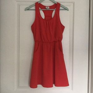 Hot & Delicious Coral Dress EUC sz S Pockets